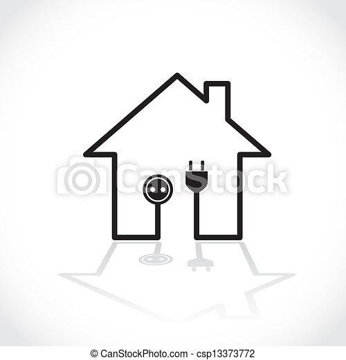 Einfache , Haus, Symbol,  , Abbildung, Elektrizität, Stromkreis    Csp13373772
