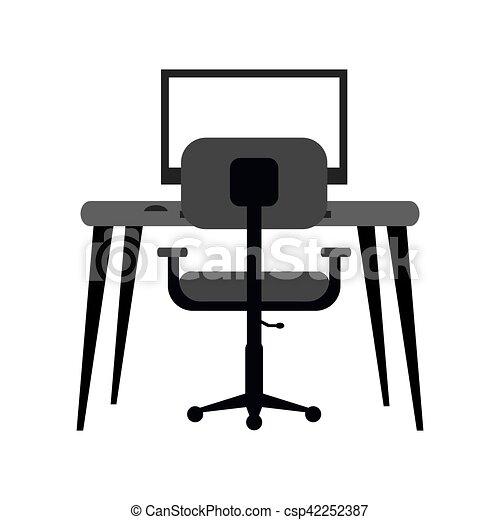 Sessel clipart  Vektorbild von einfarbig, sessel, modern, bildschirmarbeitsplatz ...