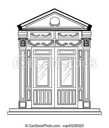 Eingang, stil, klassisch. Vektor, eingang, draht, schablone ...