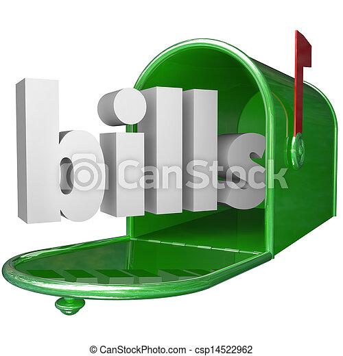 einlösen wechsel, wort, briefkasten, unten, kredit, schuld, zahlung, karte - csp14522962
