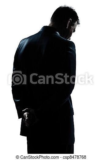 einsam, silhouette, rückseite, traurige , verzweiflung, porträt, mann - csp8478768
