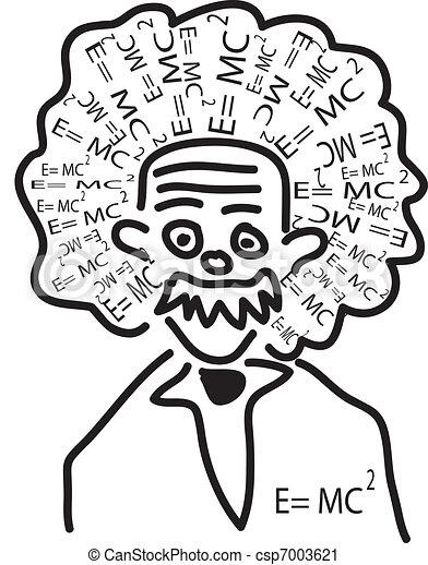 Einstein head with his theory as hair.