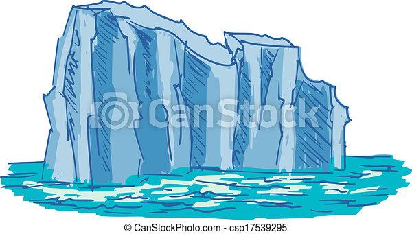 skizze, eisberg, karikatur, abbildung, hand, gezeichnet. | canstock