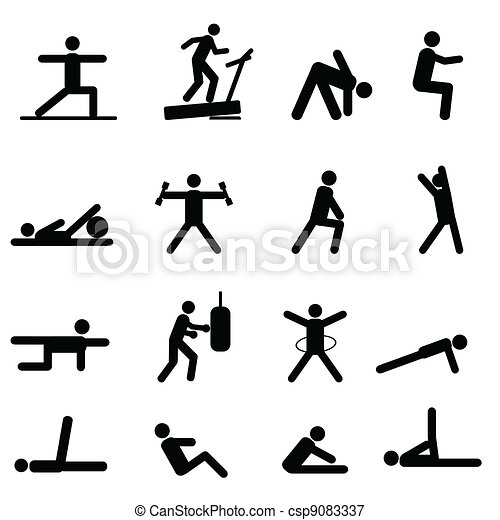 Fitness y iconos de ejercicio - csp9083337