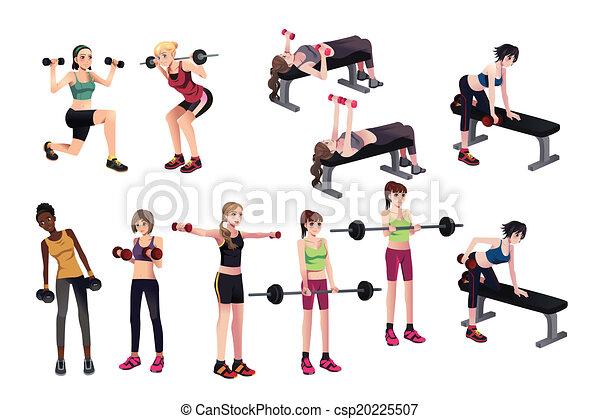 Las mujeres ejercen con pesas - csp20225507