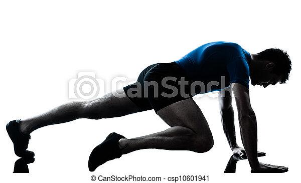 El hombre ejercitando la postura de ejercicio - csp10601941