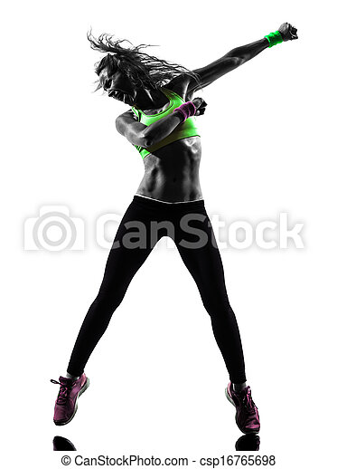 Mujer ejerciendo silueta de danza de zumba - csp16765698
