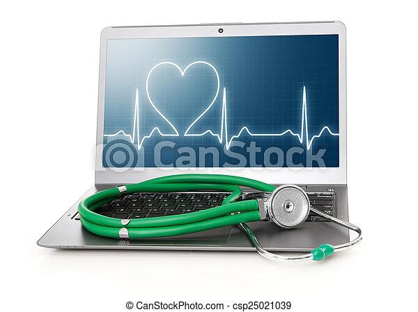 ekg, hart, draagbare computer, scherm, ritme - csp25021039