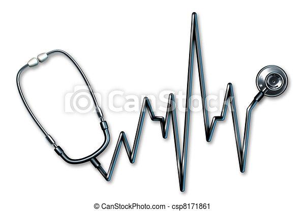 ekg, symbole, stéthoscope, healthcare - csp8171861