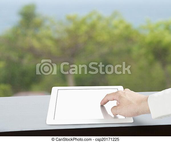 ekran, dotykanie, tabliczka, czysty - csp20171225