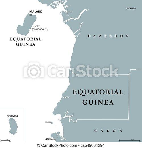 Afrika Karta Guinea.Ekvatorial Guinea Politisk Karta Formerly Over Republic