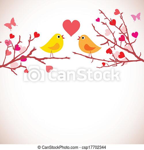 elágazik, (vector), valentin nap, háttér., madarak - csp17702344
