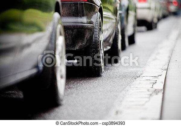 elárasztott, caus, dzsem, forgalom, autóút - csp3894393