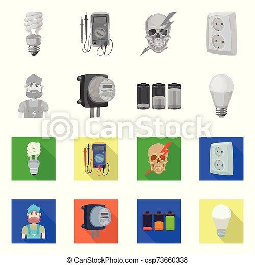eléctrico, acción, colección, electricidad, vector, web., energía, icon., símbolo, diseño - csp73660338