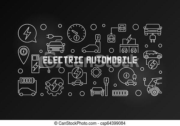 eléctrico, automóvil, moderno, ilustración, vector, contorno - csp64399084