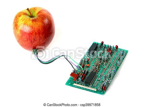 Manzana roja conectada a la junta eléctrica - csp39971858