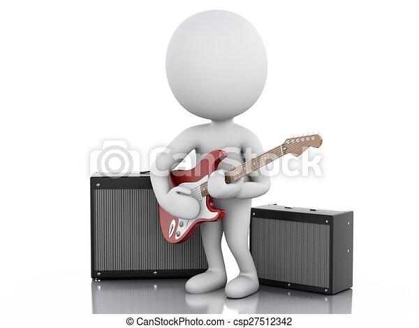 3D blancos tocando guitarra eléctrica - csp27512342