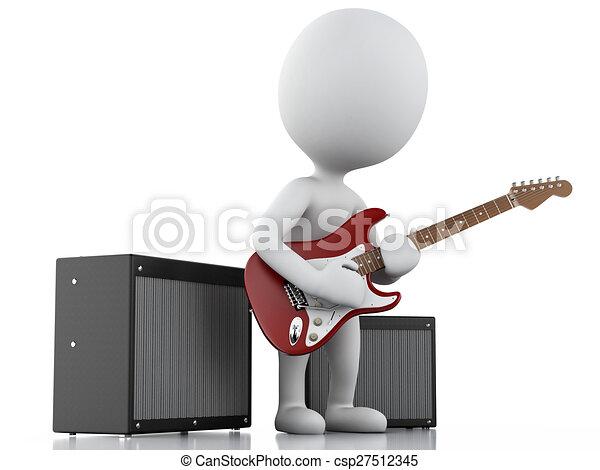 3D blancos tocando guitarra eléctrica - csp27512345