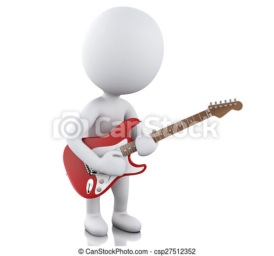 3D blancos tocando guitarra eléctrica - csp27512352