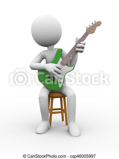 Guitarra 3D en el taburete tocando la guitarra eléctrica - csp46005997