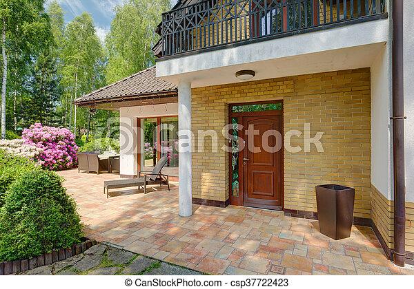 elülső, épület, ajtó - csp37722423
