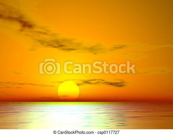 el , ηλιοβασίλεμα , χρυσαφένιος  - csp0117727