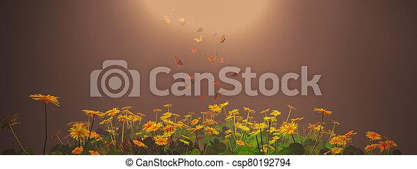 el asomar, sobre, mariposas, plantas - csp80192794
