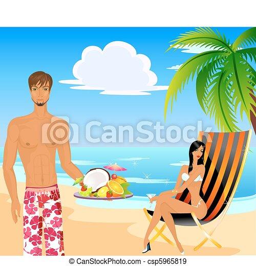 Mujer en traje de baño y hombre - csp5965819