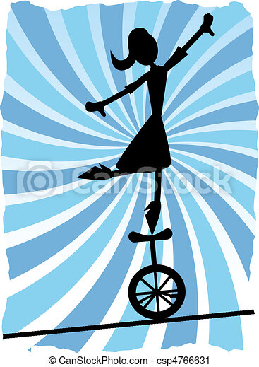 Silueta de mujer balanceándose en un - csp4766631