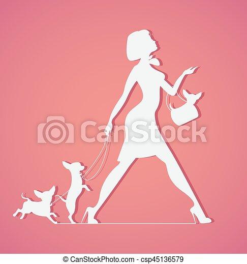 Vector silueta de mujer con perro. Perros jóvenes andantes. Fashionista - csp45136579