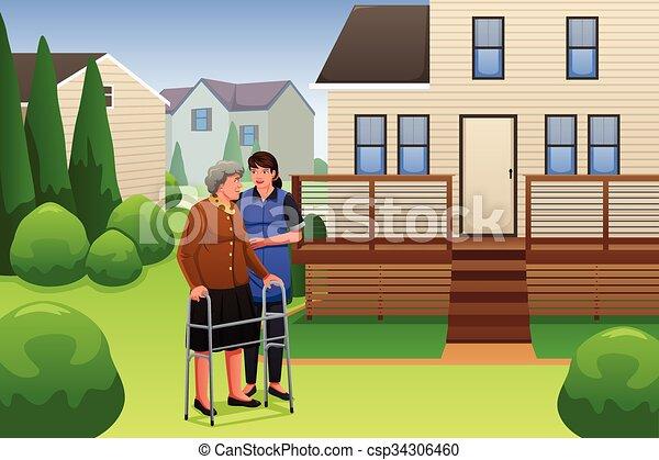 Una dama ayudando a anciana a caminar - csp34306460