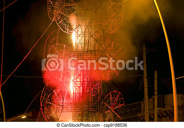 El Castillo Fireworks Tower at Chapala Mexico - csp9188536