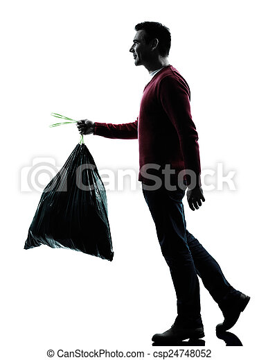 el descargar, hombre, bolsa basura