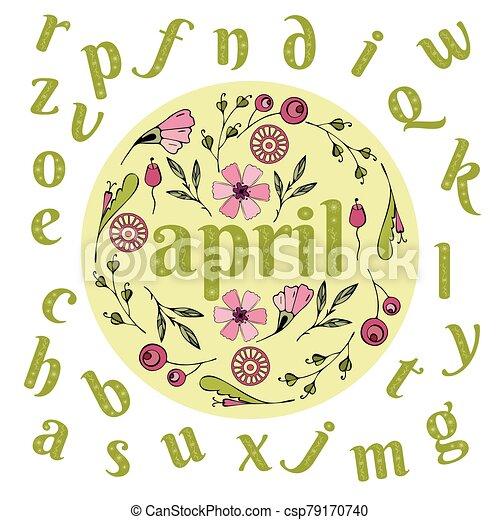 el doodling, solo, primavera, alfabeto, cartas, estilo, flores, el doodling - csp79170740