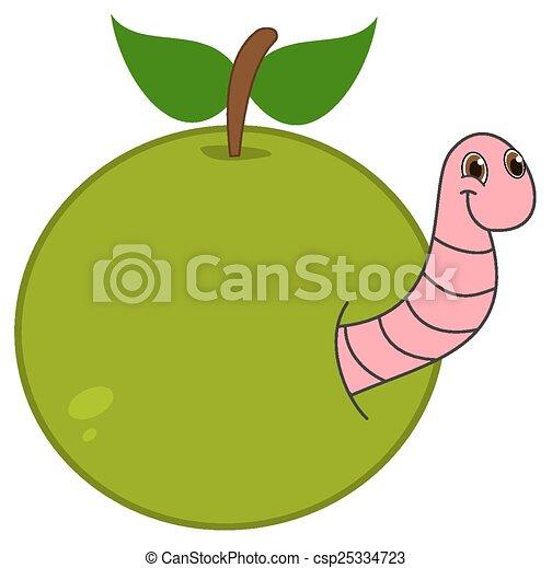 Ilustracin vectorial de el emerger manzana gusano  un gusano