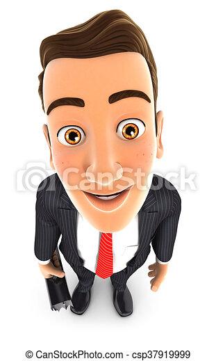 Hombre de negocios de 3D parado y mirando a la cámara - csp37919999