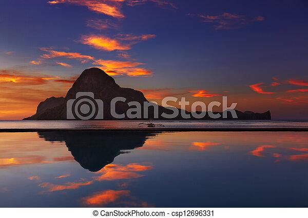 el, filipinas, nido, pôr do sol, baía - csp12696331