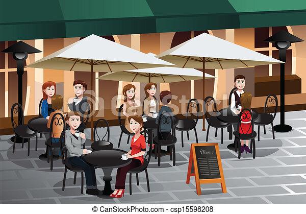 La gente disfruta del café fuera de un café - csp15598208