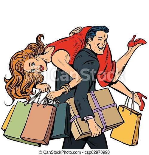 El hombre lleva a la mujer en sus brazos, a la venta - csp62970990