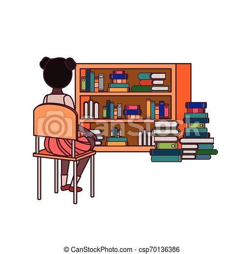 Una estudiante sentada de espaldas en la silla - csp70136386