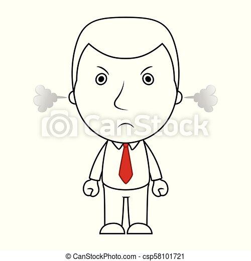 Una caricatura de caricatura de caricatura de empresarios con cara de enojado y un vapor sale de sus orejas - csp58101721