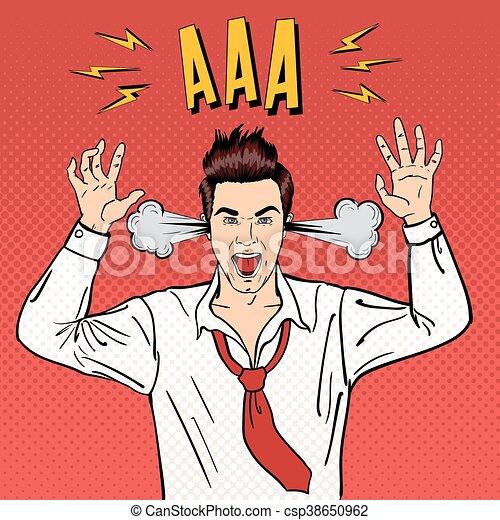 Un hombre de negocios enojado gritando con vapor saliendo de sus orejas. Arte pop. Ilustración de vectores - csp38650962