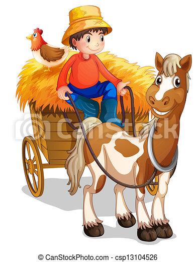 Un granjero montando un carro con un pollo en la espalda - csp13104526