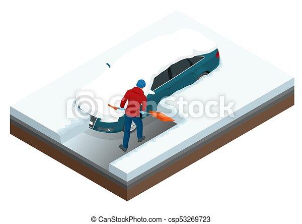 Un hombre con una pala limpiando la nieve llenó el patio trasero fuera de su auto. - csp53269723