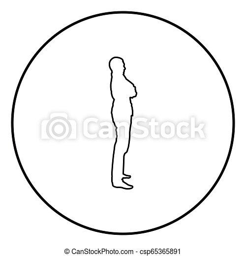 El hombre confiado cruzó sus brazos el hombre de negocios silueta concepto de visión lateral de icono ilustración de color negro en círculo - csp65365891