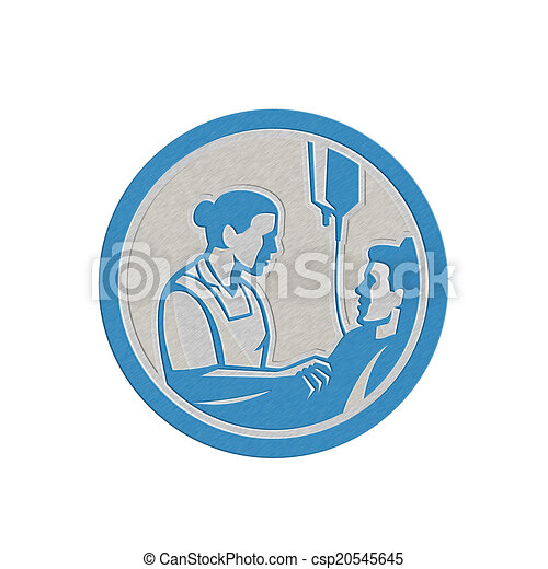 El Tender Paciente Metálico Retro Enfermo Enfermera Círculo