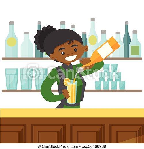 Un joven camarero afroamericano haciendo un cóctel - csp56466989