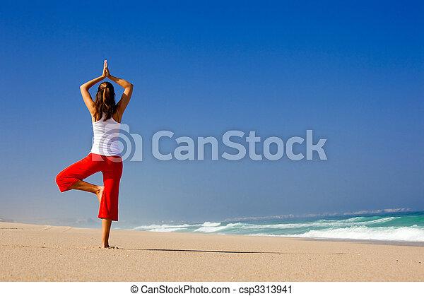 elaboración, mujer, yoga, joven - csp3313941