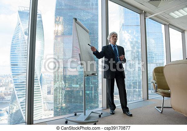Un empresario maduro haciendo una presentación - csp39170877