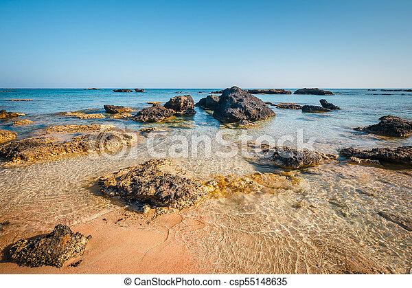 Elafonissi Beach With Pink Sand On Crete Island Greece